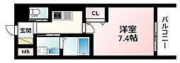 Osaka Metro御堂筋線 江坂駅 徒歩5分の賃貸マンション 10階1Kの間取り