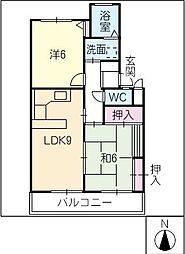 リッツハウス本野[1階]の間取り