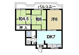 パディーフィールド21 3階3DKの間取り