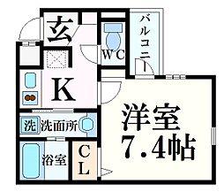 阪急神戸本線 西宮北口駅 徒歩7分の賃貸マンション 3階1Kの間取り