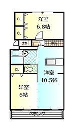 静岡県御殿場市東田中1丁目の賃貸マンションの間取り
