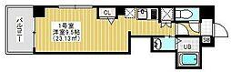 東京メトロ日比谷線 三ノ輪駅 徒歩3分の賃貸マンション 6階1Kの間取り