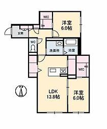 仮)ベレオ古川南 1階2LDKの間取り