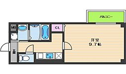 ヴィラペントハウス桑津 3階1Kの間取り