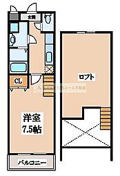 大阪府堺市北区百舌鳥梅町1丁の賃貸アパートの間取り