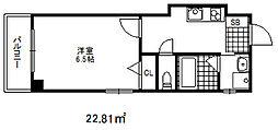 コウリュウマンション 3階1Kの間取り