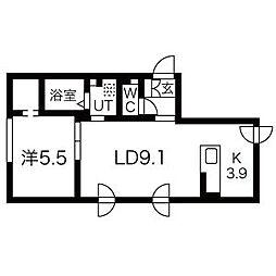 エル澄川 1階1LDKの間取り