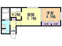 ジェンティーレ43 3階1DKの間取り