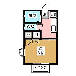 ハイツマエダ 2階1Kの間取り