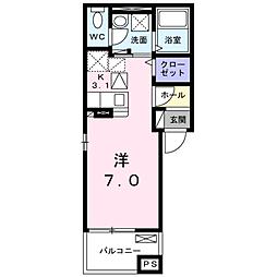 JR山陽本線 五日市駅 徒歩17分の賃貸アパート 1階1Kの間取り