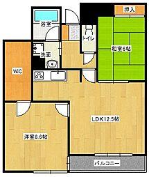 京阪本線 大和田駅 徒歩14分の賃貸マンション 1階2LDKの間取り