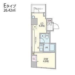 Kukai Terrace白金高輪 7階1DKの間取り