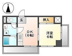 愛知県名古屋市中川区尾頭橋1丁目の賃貸マンションの間取り