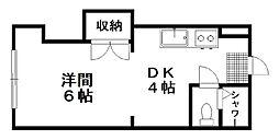 メルセ11 1階1DKの間取り
