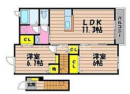 岡山県総社市西郡丁目なしの賃貸アパートの間取り