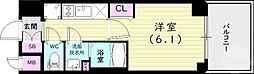 JR山陽本線 兵庫駅 徒歩12分の賃貸マンション 9階1Kの間取り