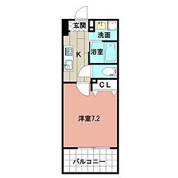 LE GRAND BLEU HAKATA 9階1Kの間取り