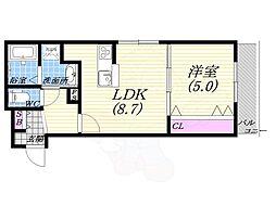 JR東海道・山陽本線 西宮駅 徒歩10分の賃貸マンション 2階1LDKの間取り