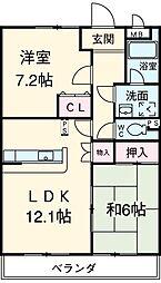 愛知県西尾市楠村町明神左右の賃貸マンションの間取り