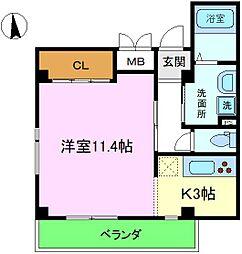 槇本ビル 3階1Kの間取り