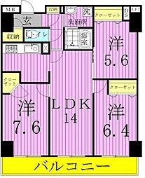ロイヤルKJ[9階]の間取り