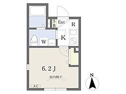 東京メトロ南北線 王子駅 徒歩7分の賃貸マンション 2階1Kの間取り