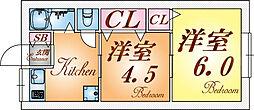 兵庫県神戸市長田区二葉町10丁目の賃貸マンションの間取り