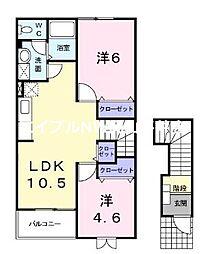 JR赤穂線 大富駅 徒歩2分の賃貸アパート 2階2LDKの間取り