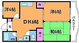 東京都調布市下石原2丁目の賃貸マンションの間取り