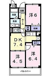 兵庫県三木市加佐字八ヶ坪の賃貸マンションの間取り