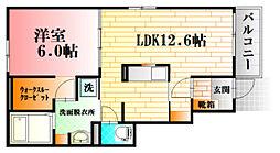 亀山1丁目アパートA 1階1LDKの間取り