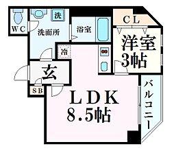 ランドアート甲子園 3階1LDKの間取り