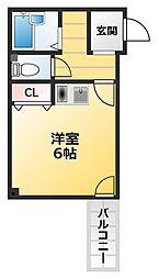 ナニワ3番館 3階ワンルームの間取り