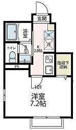 JR横浜線 中山駅 徒歩13分の賃貸アパート 1階1Kの間取り