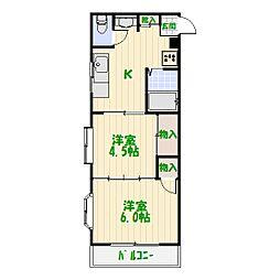 東京都葛飾区亀有2丁目の賃貸マンションの間取り