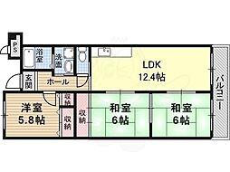 メゾンドール1 4階3LDKの間取り