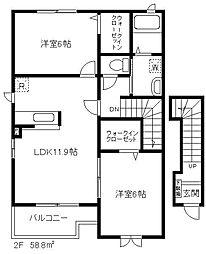埼玉県川口市安行領家の賃貸アパートの間取り