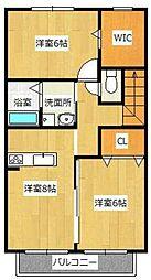 西鉄天神大牟田線 蒲池駅 徒歩7分の賃貸アパート 2階2LDKの間取り