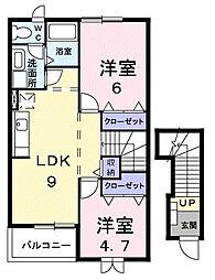 福岡県大野城市山田3丁目の賃貸アパートの間取り