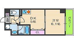 S-FORT福島EBIE 5階1DKの間取り