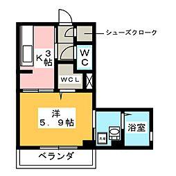 ピフォンテ日吉 1階1Kの間取り