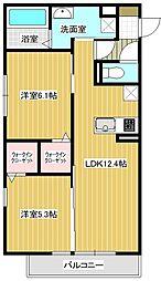 (仮称)平泉東3丁目マンションA棟 3階2LDKの間取り