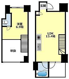 名鉄豊田線 浄水駅 徒歩7分の賃貸マンション 9階1LDKの間取り