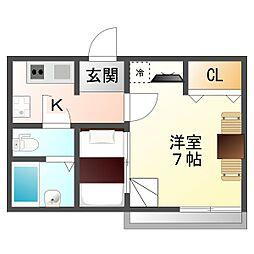 大阪府大阪市平野区瓜破7丁目の賃貸アパートの間取り