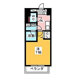 ヴィークブライト名古屋東別院 6階1Kの間取り