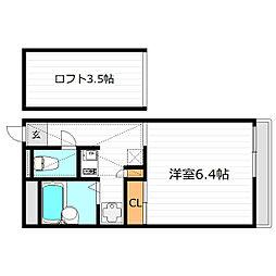 大阪府大阪市平野区喜連1丁目の賃貸アパートの間取り