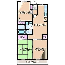 神奈川県横浜市都筑区茅ケ崎南2丁目の賃貸マンションの間取り