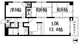 兵庫県宝塚市花屋敷荘園1丁目の賃貸マンションの間取り