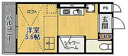 阪急甲陽線 甲陽園駅 徒歩17分の賃貸アパート 1階ワンルームの間取り