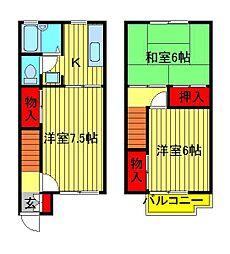 [テラスハウス] 千葉県柏市宿連寺 の賃貸【/】の間取り
